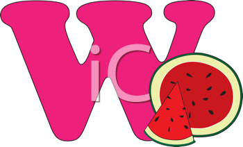 Royalty Free Clipart Image of a W With Watermelon