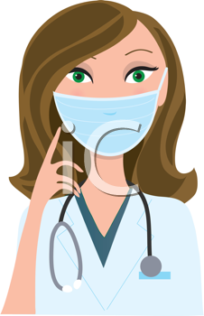 Royalty Free Clipart Image of a Nurse in a Surgical Mask