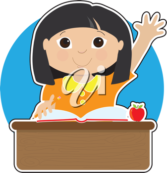 A little Asian girl is raising her hand to answer a question in school - there is a book and an apple on her desk