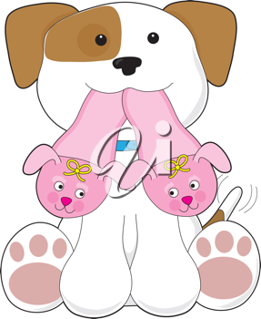 A cute smiling puppy is holding out a pair of pink slippers in its mouth.