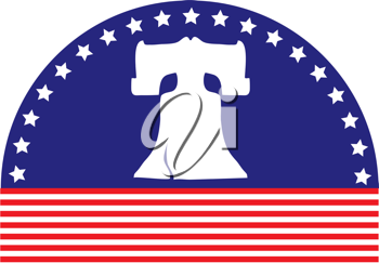 An image of the Liberty Bell, sits on an arched blue background with white stars, above a foundation of red stripes.