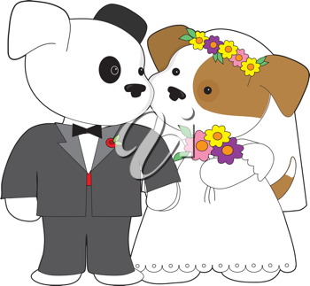 Royalty Free Clipart Image of a Puppy Couple Getting Married