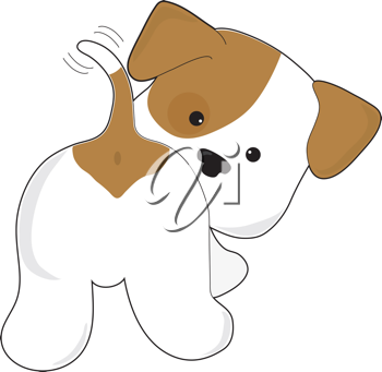 Royalty Free Clipart Image of a Puppy Wagging Its Tail