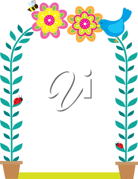 A framed background with two potted plants reaching up forming an arch, with blooms, birds and bees at the top, expressing  riot of nature.