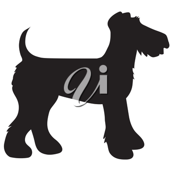 A cartoon black silhouette of an Airedale Terrier
