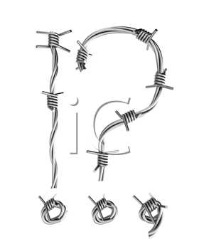 Royalty Free Clipart Image of a Question and Exclamation Mark Made From Barbed Wire