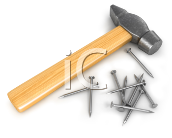 Royalty Free Clipart Image of a Hammer and Nails