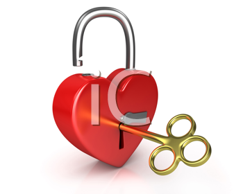 Royalty Free Clipart Image of a Heart and a Lock