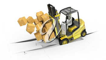 Fork lift truck with heavy load crashing through floor, isolated on white background