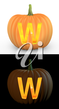 W letter carved on pumpkin jack lantern isolated on and white background