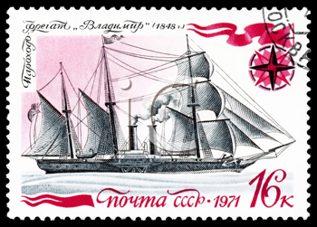 Royalty Free Clipart Image of a Stamp With a Boat