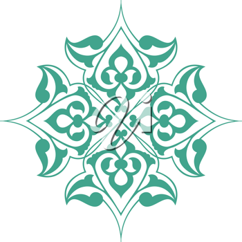 Royalty Free Clipart Image of a Green and White Design