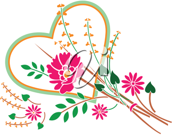Royalty Free Clipart Image of Flowers and a Heart