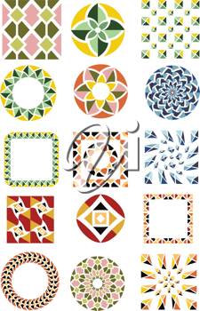 Royalty Free Clipart Image of a Set of Mosaics