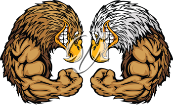 Royalty Free Clipart Image of Eagles