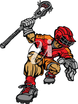 Royalty Free Clipart Image of a Lacrosse Player