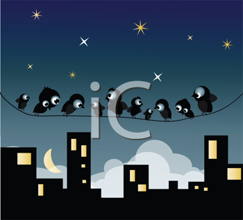 Royalty Free Clipart Image of Birds in Town