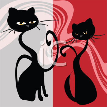 Royalty Free Clipart Image of Two Cats