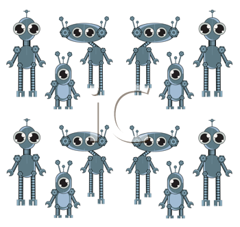 Royalty Free Clipart Image of Blue Robots