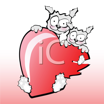 Royalty Free Clipart Image of Two Dogs With a Heart