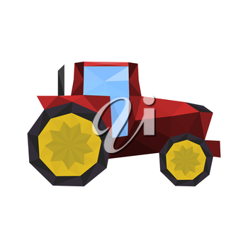 Illustration of polygonal red tractor isolated on white background