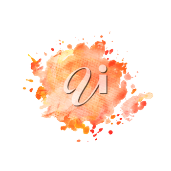 Illustration of hand drawn watercolo red splash isolated on white background