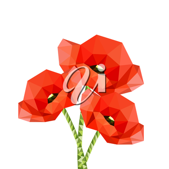 Illustration of red origami poppies isolated on white background