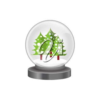 Illustration of modern snow globe with pine trees isolated on white background