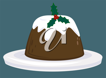 Royalty Free Clipart Image of a Christmas Pudding
