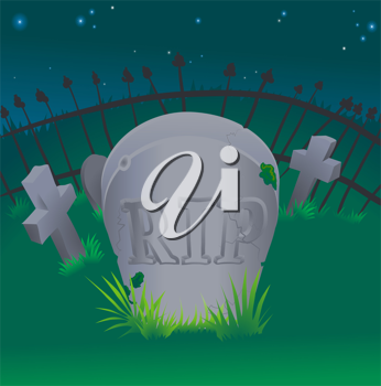 Royalty Free Clipart Image of a Tombstone in a Cemetery