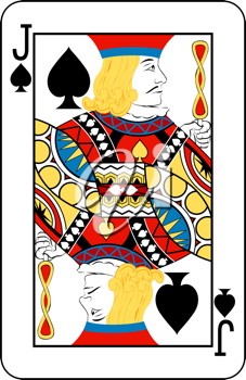 Royalty Free Clipart Image of a Jack of Spades Playing Card
