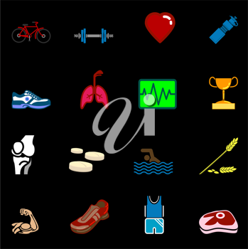 Royalty Free Clipart Image of Health and Fitness Icons