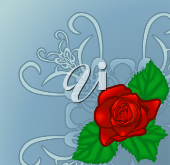 Royalty Free Clipart Image of a Rose Floral Design