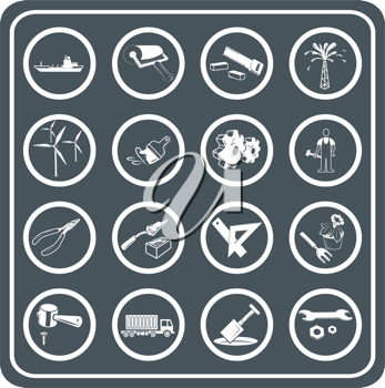 Royalty Free Clipart Image of Tool and Industry Icons