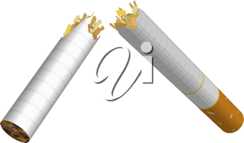 Royalty Free Clipart Image of a Broken Cigarette