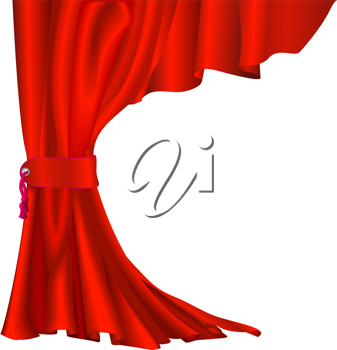 Royalty Free Clipart Image of a Red Velvet Curtain