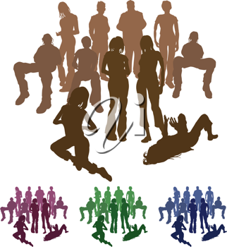 Royalty Free Clipart Image of Groups of Friends