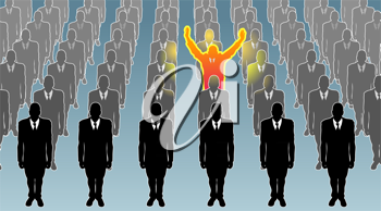 Royalty Free Clipart Image of a Person Standing Out in a Crowd