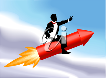 Royalty Free Clipart Image of a Businessman Riding a Rocket
