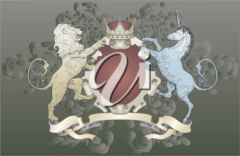 Royalty Free Clipart Image of a Lion and Unicorn Coat of Arms