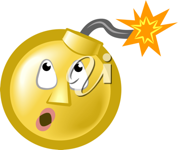 Royalty Free Clipart Image of a Bomb Emoticon
