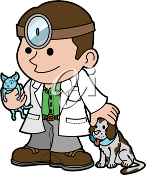 Royalty Free Clipart Image of a Veterinarian Holding a Kitten and Petting a Dog