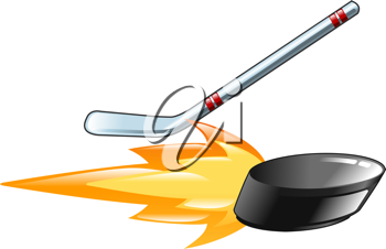 Royalty Free Clipart Image of a Flaming Hockey Stick and Puck