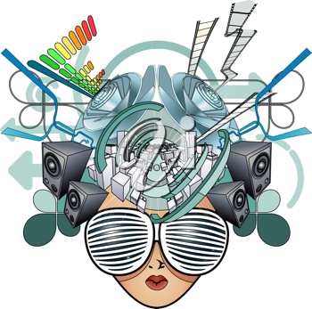 Royalty Free Clipart Image of an Abstract Media Face