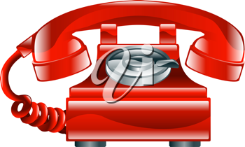 Royalty Free Clipart Image of a Red Phone Icon