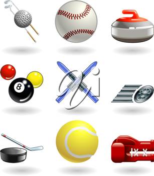 Royalty Free Clipart Image of a Set of Sport Related Elements