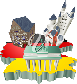 Royalty Free Clipart Image of Tourist Attractions in Germany