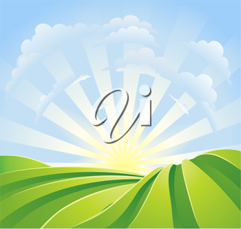 Royalty Free Clipart Image of a Green Field
