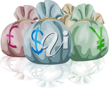 Royalty Free Clipart Image of Bags of Money