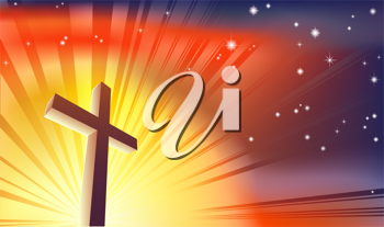 Royalty Free Clipart Image of a Cross in the Light